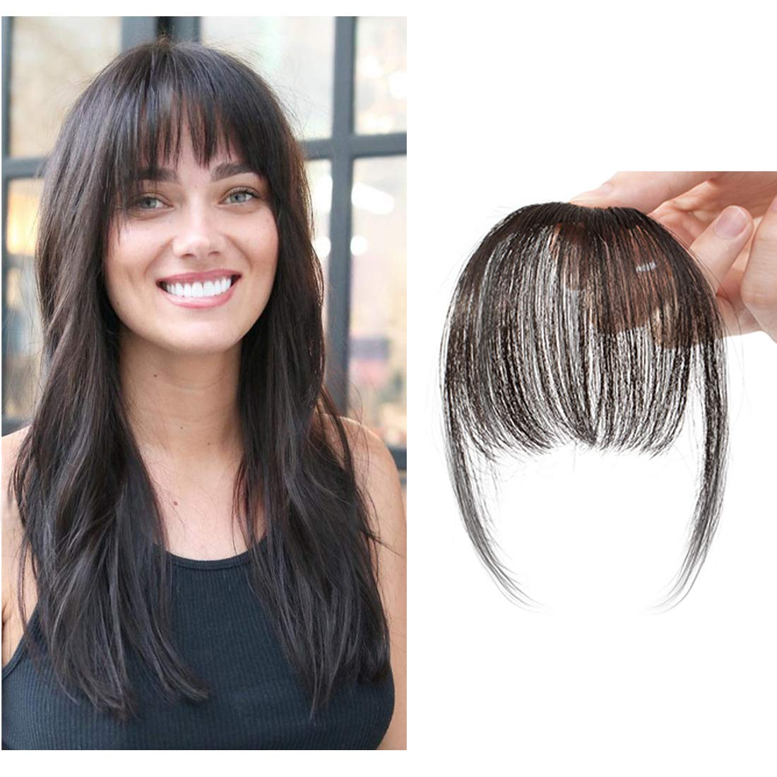 Clip in Air Bangs Human Hair Extension with Temple Thin Tied Mini Air Fringe Hair Piece Front Full Neat Air Fringe for Women One piece #1B Natural Black