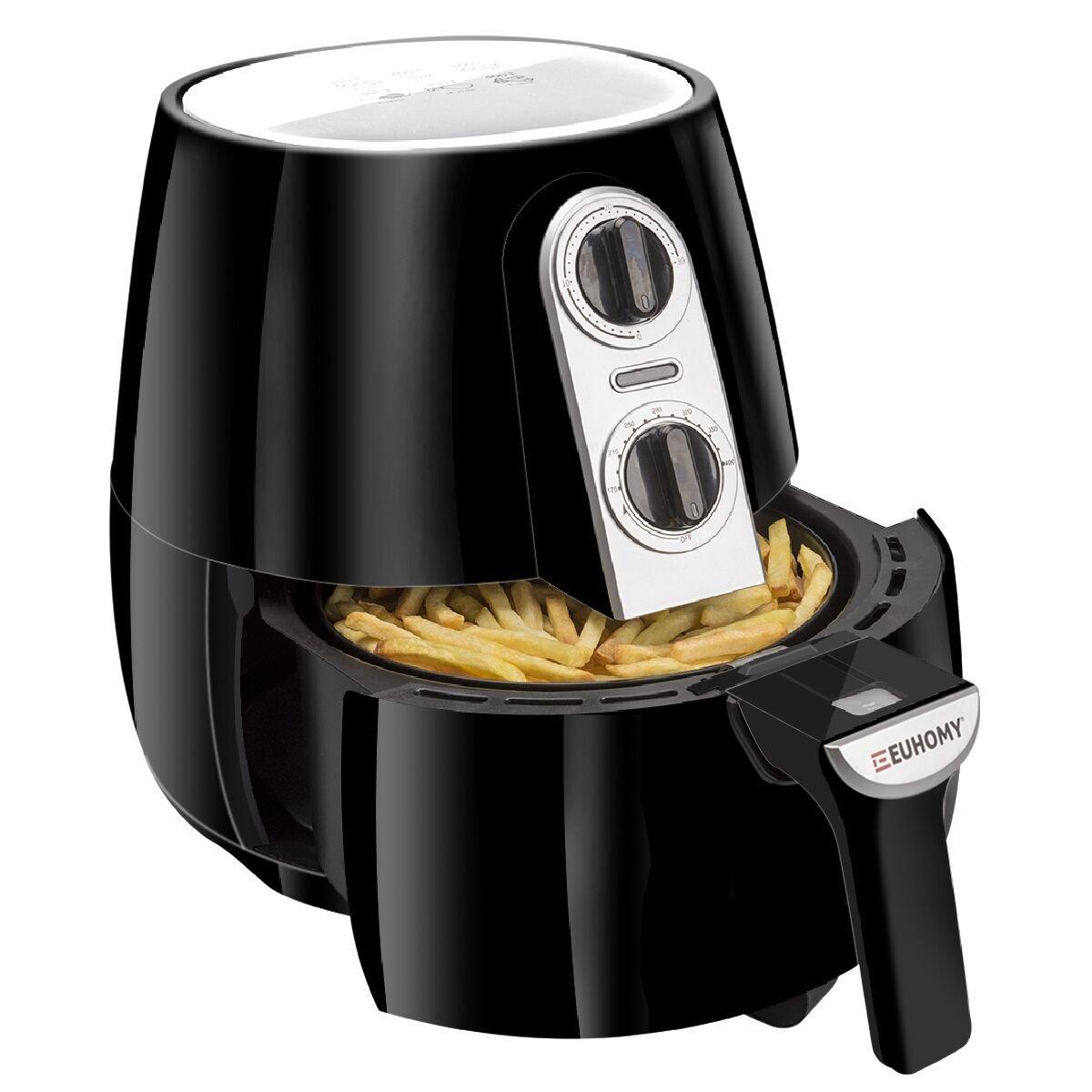 Euhomy Air Fryer, 4.2 Quart Electric Oil-less Fryer with Smart Time & Temperature Control, Cookbook, 1500 Watt, Black Air Cooker
