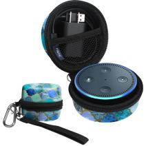 Fintie Carrying Case for Amazon Echo Dot 2nd Generation - Shock Proof EVA Cover Zipper Portable Travel Bag Box (Fits USB Cable and Wall Charger), Cool Jade (Official Micklyn Le Feuvre Product.)