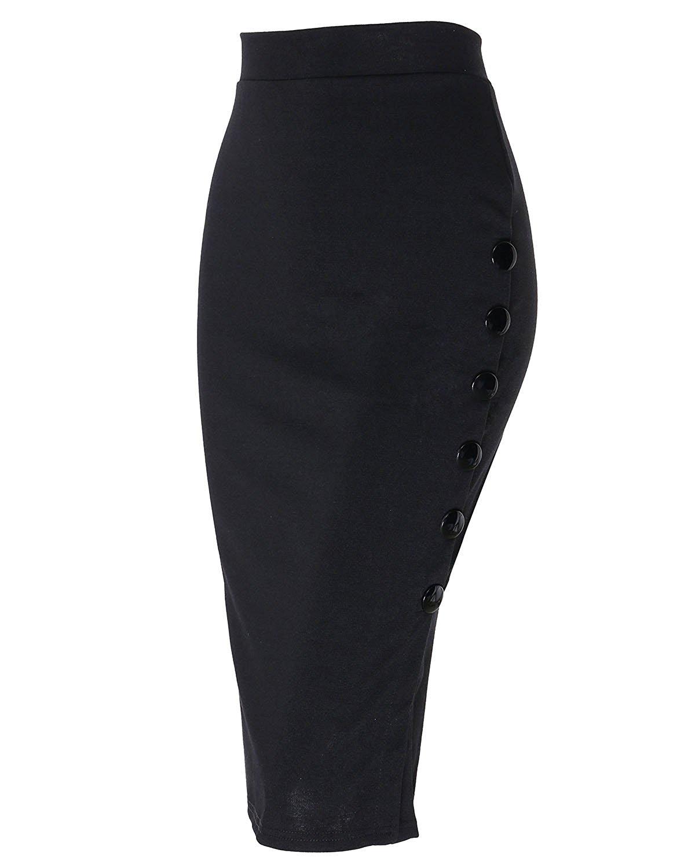 KENANCY Women Today Vintage High Waist Pencil Skirts Knee Length Bodycon