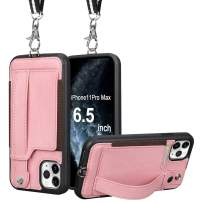 TOOVREN iPhone 11 Pro Max Wallet Case, iPhone 11 Pro Max Case Protective Cover with Leather PU Card Holder Adjustable Detachable iPhone Lanyard Stand Strap for iPhone 11 Pro Max 6.5 Inch 2019 Pink