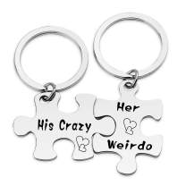 HN HNHB His Crazy Her Weirdo Couple Keychain Husband Wife Gift Wedding Jewelry Gifts (Crazy Weirdo KE) …