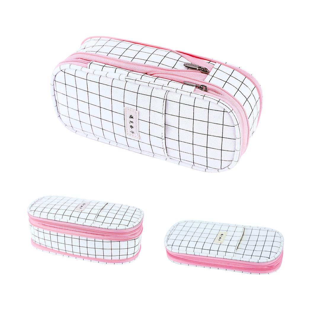 iSuperb Pencil Case Large Capacity Zipper Pen Pouch Bag Office Canvas Stationery Bag Case Makeup Pouch Bag