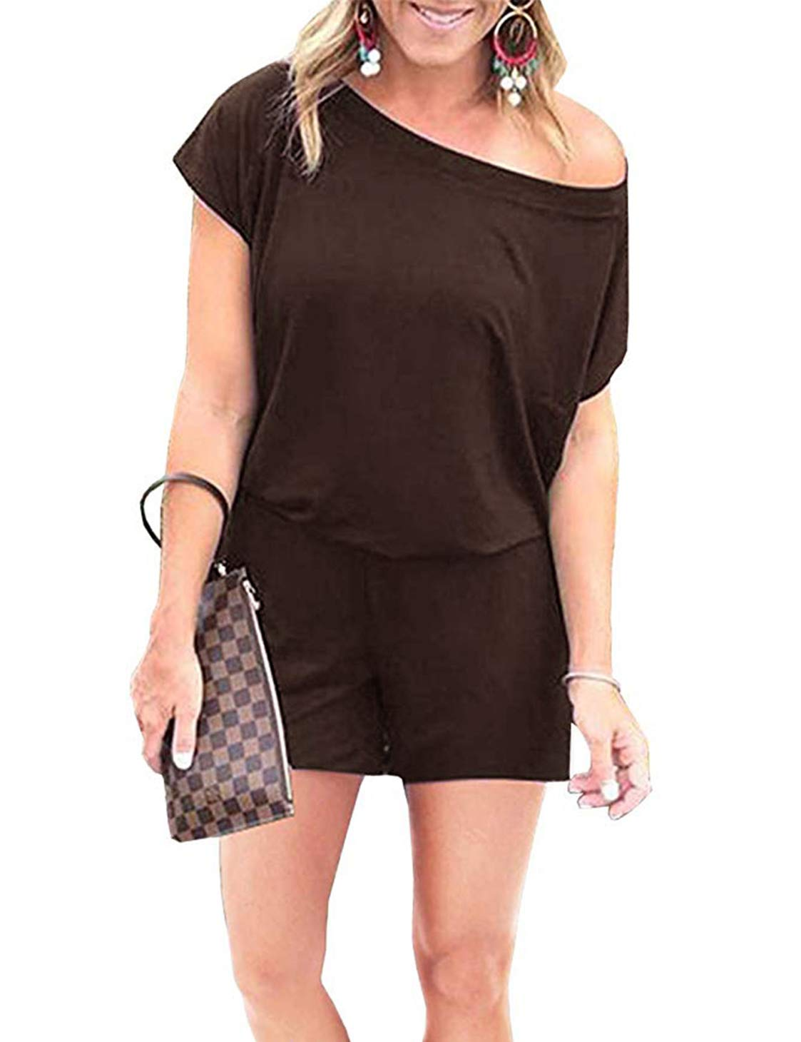 Women's Casual Off Shoulder Romper Short Sleeves Jumpsuit Elastic Waist Playsuit with Pockets