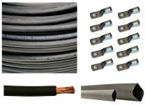 """WNI 2/0 AWG 2/0 Gauge 15 Feet Black Battery Welding Pure Copper Ultra Flexible Cable + 5pcs of 5/16"""" & 5pcs 3/8"""" Copper Cable Lug Terminal Connectors + 3 Feet Heat Shrink Tubing"""