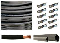 """WNI 4/0 AWG 4/0 Gauge 20 Feet Black Battery Welding Pure Copper Ultra Flexible Cable + 5pcs of 5/16"""" & 5pcs 3/8"""" Copper Cable Lug Terminal Connectors + 3 Feet Heat Shrink Tubing"""