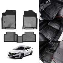KUST 3D Floor Mats for 2016-2020 Honda Civic Sedan/Civic Hatchback/Civic Type R 2 Row Liner SetAll Weather Durable Odorless TPE Floor Carpet Liner