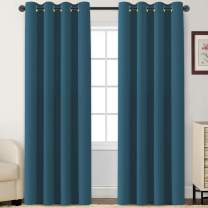 Blackout Curtains Room Darkening Curtains Window Panel Drapes for Bedroom/Living Room Thermal Insulated Grommet Top Curtains, (52 inch Wide by 84 inch Long 2 Panels, Dark Teal)