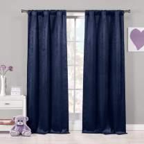Blackout365 Quincy Faux Silk Grommet Window Curtain 2 Panel Drapes, W38 X L84, Navy Blue (Pole Top)