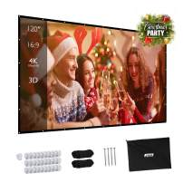 Projector Screen, Upgraded 120 inch 4K 16:9 HD Portable Projector Screen, Premium Indoor Outdoor Movie Screen Anti-Crease Projection Screen for Home Theater Backyard Movie.