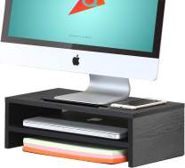 QEEIG Small Monitor Stand Riser Desk Organizer 2 Tier Storage Shelf Computer Laptop PC Office Printer Table Desktop Shelves 15.7 inch Black (MS634)