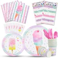 WERNNSAI Ice Cream Party Supplies Set - Ice Cream and Popsicle Party Tableware for Girls Birthday Baby Shower Disposable Tablecloth Plates Cups Napkins Cutlery Bag Utensils Serves 16 Guests 130PCS