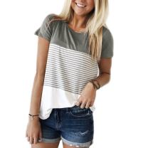 Women's Tops Short Sleeve Round Neck Striped Color Block T-Shirts Casual Blouse