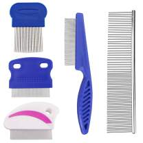 Sonku 5 Pcs Dog Tear Stain Remover Combs Set, Pets Stainless Steel Grooming Combs,Gently and Effectively Removes Stains,Mucus and Crust