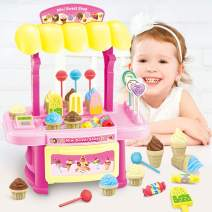 AngelSounds 34PCS Ice Cream Parlour Playset Pretend Play Food Decorating Kit for Kids 3 and Up