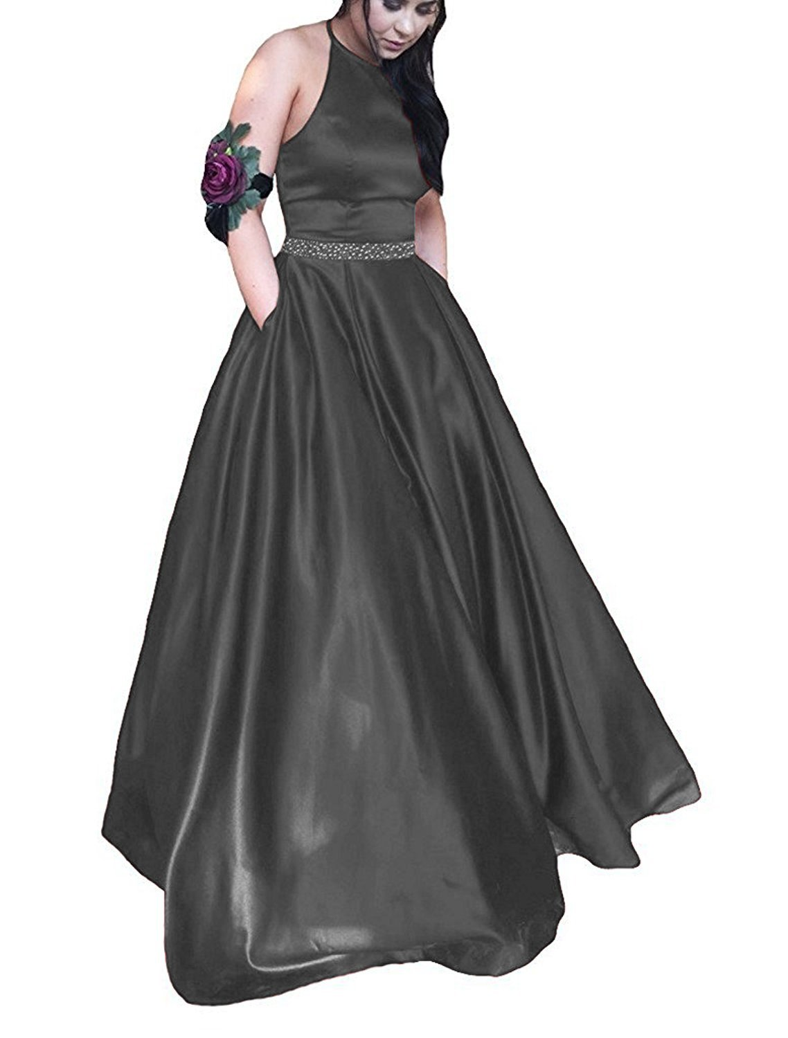 Pettus Women's Halter Satin Prom Dresses Long Beads Sequins Evening Party Gowns
