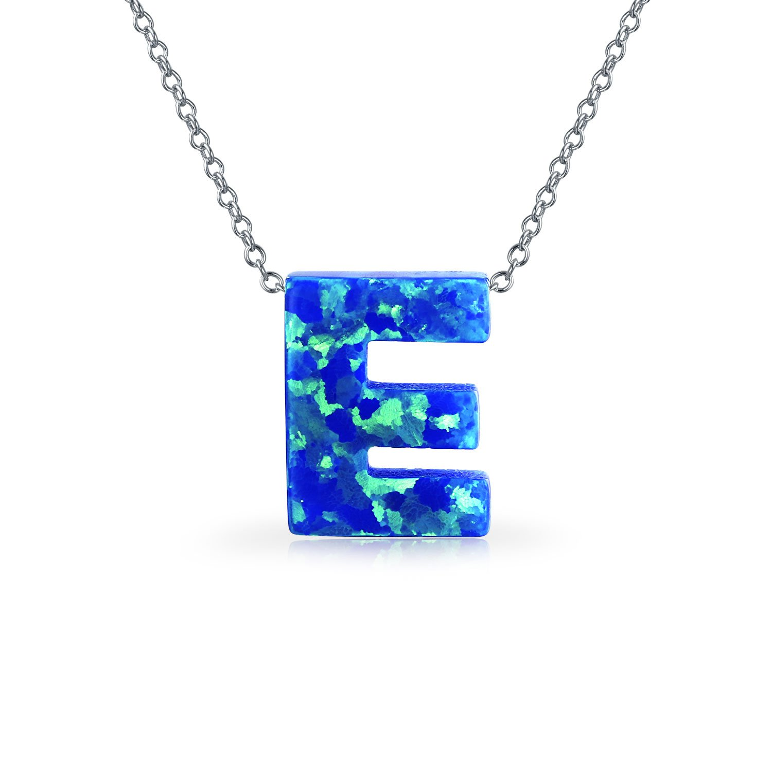 Blue Created Opal Block Letters Alphabet Pendant A-Z Sterling Silver Initial Necklace For Women Teen October Birthstone
