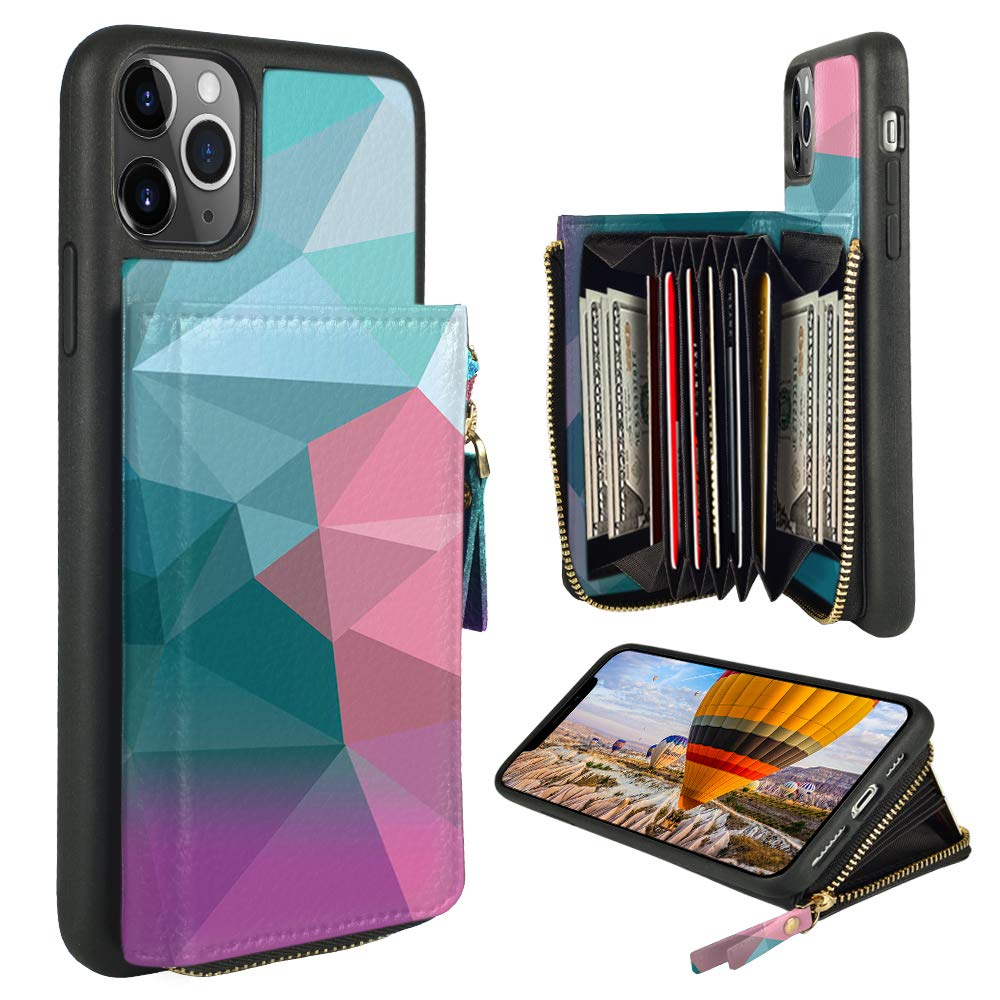 ZVE iPhone 11 Pro Max Case, iPhone 11 Pro Max Wallet Case with Credit Card ID Card Holder Slot Hangbag Purse Print Leather Cover Zipper Wallet Case for iPhone 11 Pro Max 6.5 inch - Diamond