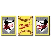 Big Dot of Happiness Grand Slam - Fastpitch Softball - Kids Bathroom Rules Wall Art - 7.5 x 10 inches - Set of 3 Signs - Wash, Brush, Flush