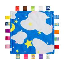 Baby Teething Cloth Teething Blanket - Baby Comforting Blanket Soothing Towel Security Blanket - Colorful and Bright Patterns Help Your Baby Self-Soothe Better (Blue)