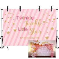 Sensfun 8x6ft Twinkle Twinkle Little Star Backdrop for Baby Shower Pink Stripe Newborn Girl Princess First Birthday Party Photography Background Photo Booth Cake Table Banner Decor
