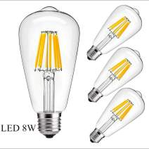Vintage Edison LED Bulbs, 8W ST64(ST21) Dimmable Antique LED Bulbs, 680 Lumens 2700K – 3200K Warm White, Squirrel Cage Filament, e26 Base,Clear Glass Cover,4 Pack
