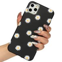 LLZ.COQUE for iPhone 11 Pro Max Case, Cute Daisy Chrysanthemum Black Silicone Slim-Fit Anti-Scratch Anti-Finger Print Shock Proof Smooth Soft TPU Gel Case for iPhone 11 Pro Max
