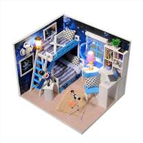 CONTINUELOVE Miniature DIY Wooden Doll House Kit - Toy House with Furniture - Led Lights and Dust Cover - Best Gift(Q005)