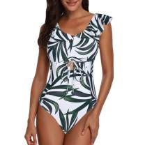 Puimentiua Womens Ruffle Sexy Deep V Neck Drawstring Monokini Swimsuit One Piece Backless Floral Print Bathing Suit.