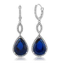Gem Stone King 925 Sterling Silver Long Drop Dangle Elegant Wedding Bridal Chandelier Teardrop Earrings For Women (2 Inch Pear Shape 16X12MM, 20.00 Cttw)