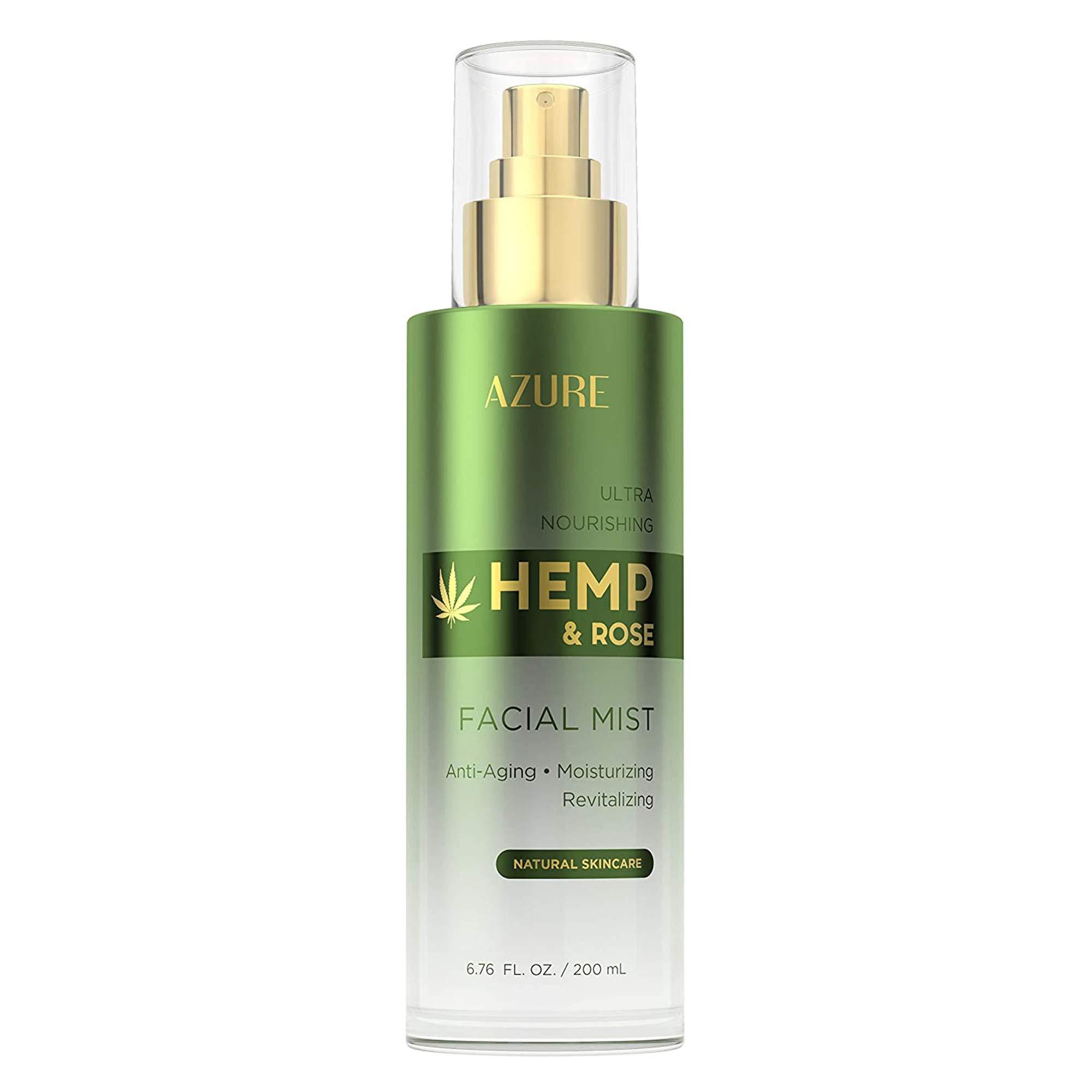 AZURE Hemp & Rose Ultra Nourishing Face Mist Toner - Anti Aging, Moisturizing & Revitalizing   W/Vitamins & Antioxidants   Rejuvenates Tired, Dehydrated Skin   Made in Korea - 200mL