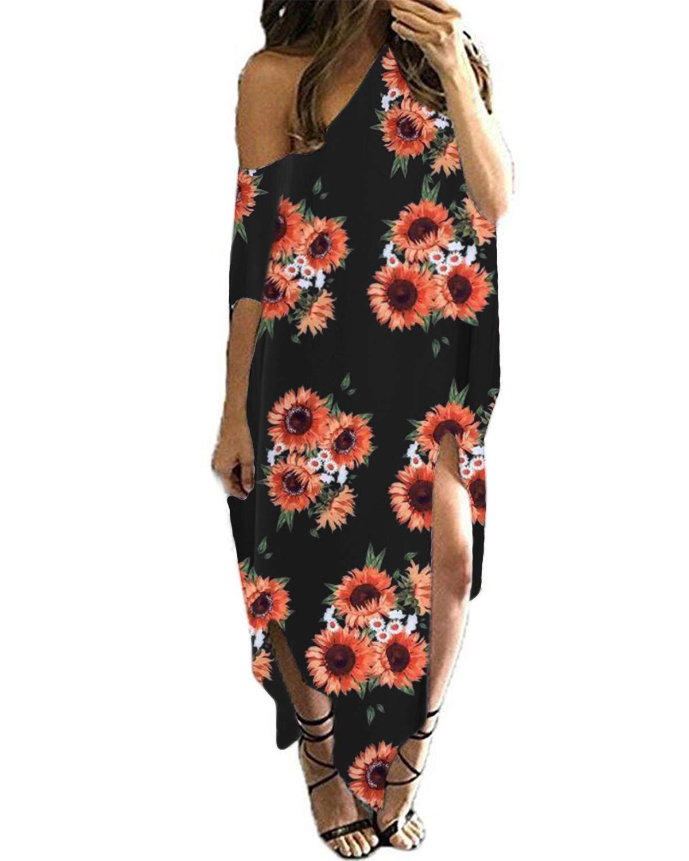 Kidsform Women Off Shoulder Maxi Dress Floral Printed Short Sleeve Casual Loose Kaftan Oversized Cover Up Long Sundress Floral-Sunflower S