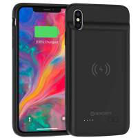 NEWDERY Battery Case for iPhone Xs Max, 5000mAh Wireless Charging Case for iPhone Xs Max Rechargeable Extended Battery Pack Protective Charger Case Portable Power Bank
