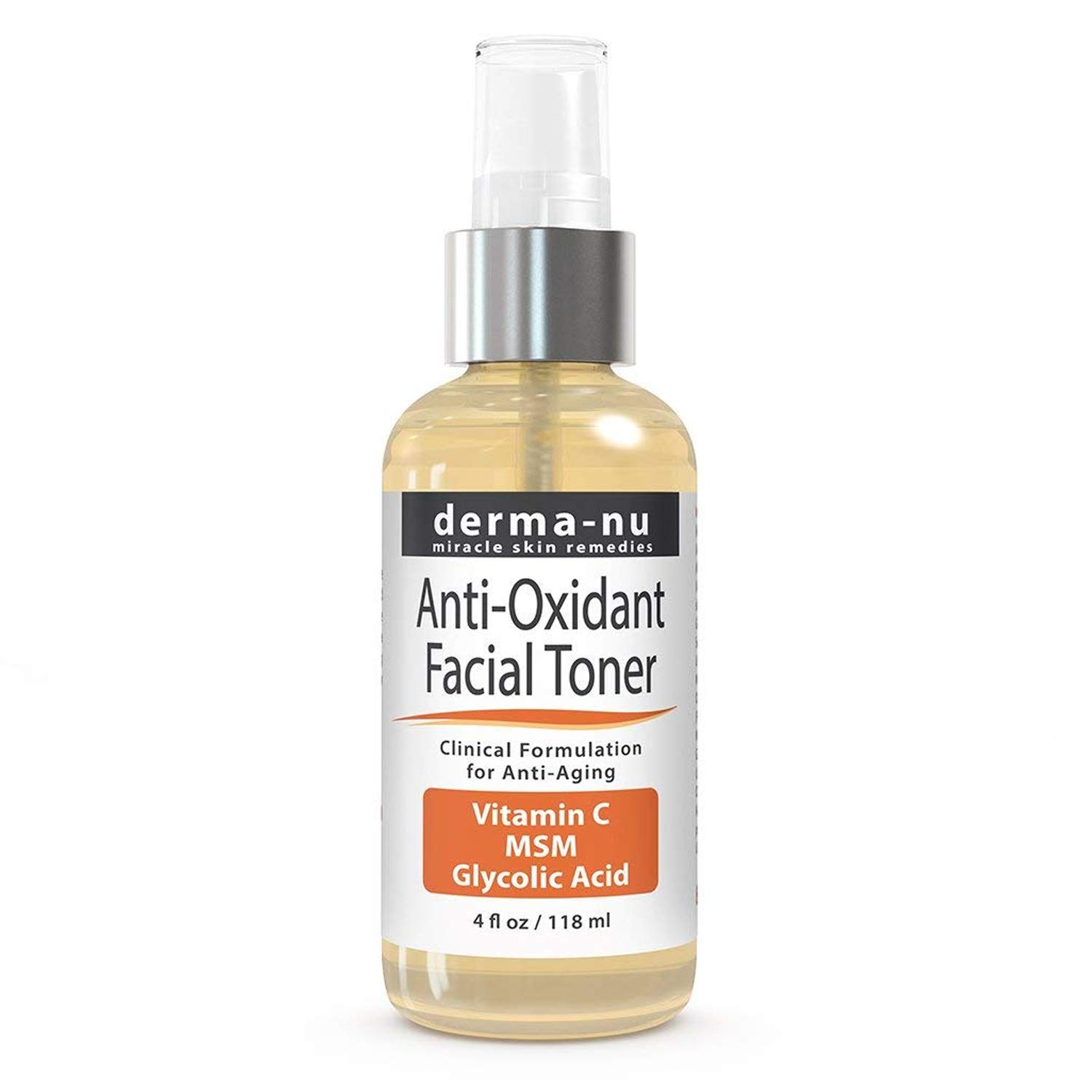 Natural Facial Toner with Vitamin C - Natural Anti Oxidant & Anti-Aging Face Wash for Women - Loaded with Powerful Antioxidants: Green Tea & Rose Hip Oil for Fine Lines & Wrinkles - Derma Nu - 4oz