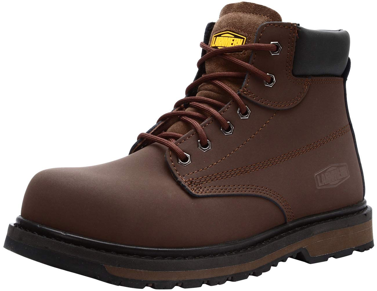 LARNMERN Work Boots for Men, L-8058 Steel Toe Safety Shoes Waterproof Slip Resistant Puncture Proof Construction Boots