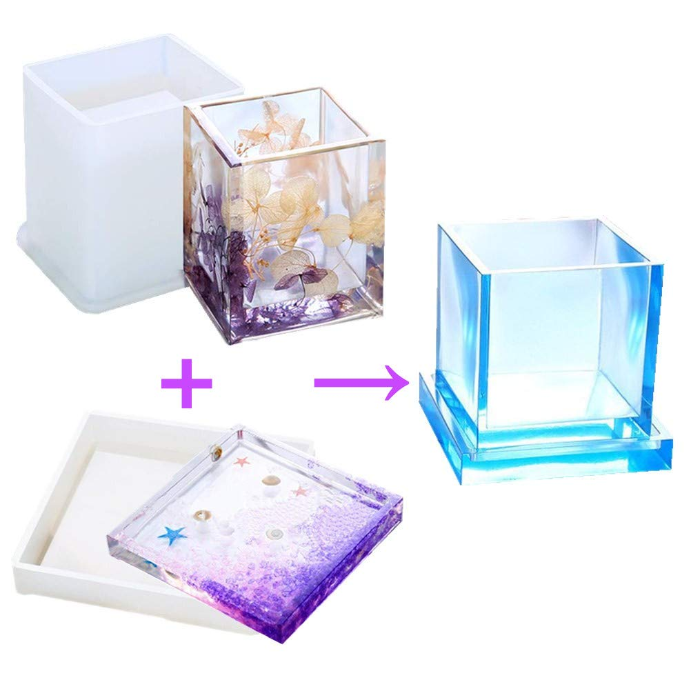 Cube Epoxy Resin Silicone Molds - DIY Pen Holder Mold & Silicone Coaster Molds Set, Clear Flower Pot Moulds for Casting Succulent Plants Pot and Many Other Art Craft, Sold by MeiMeiDa