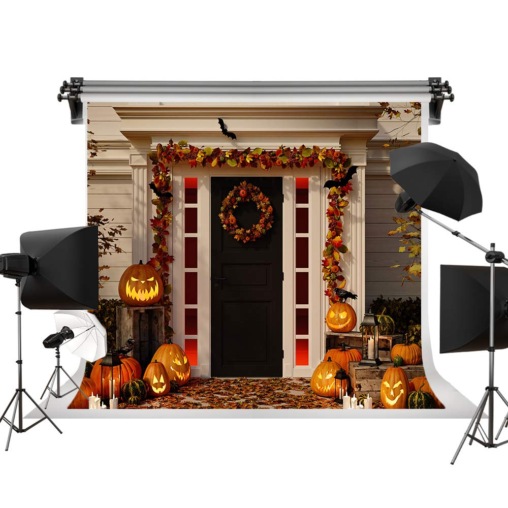 Kate 7x5ft/2.2m(W) x1.5m(H) Halloween Backdrops Pumpkin Lanterns Background Halloween Party Family Decorations Photography Props