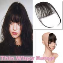 "Clip in Hair Bangs Human Hair Black Clip on Hair Fringe Extensions Flat Wispy Air Fringe Thin with Temple for Women One-piece 5"" Hairpiece #1 Jet Black"