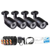 LONNKY 4 Pack 1080P Outdoor Indoor Day Night Vision with 6PCS IR Infrared LED Light Security Bullet Camera Kits for 1080P TVI and 5-in-1 Analog DVR Recorder,100ft IR Distance,Aluminum Metal Housing