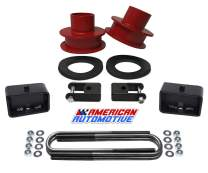 American Automotive F250 F350 Super Duty 4WD 3.5 Red Front Leveling Lift Spring Spacers and 3 Rear Lift Block Kit + Shock Extenders