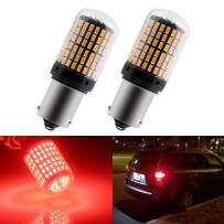 EverBright 2800 Lumen 1156 Led Bulb Red for Tunr Signal Bulb, Canbus No Hyper Flash BA15S 1003 7506 1141 Led Bulb Replacement for Front Rear Turn Signal Blinker Light, 3014 Chipset 144SMD (Pack of 2)