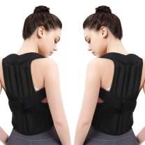 Aisprts Upper Back Support, Posture Corrector for Shoulder, Neck, Clavicle Pain Relief, Adjustable Full Back Brace (M)