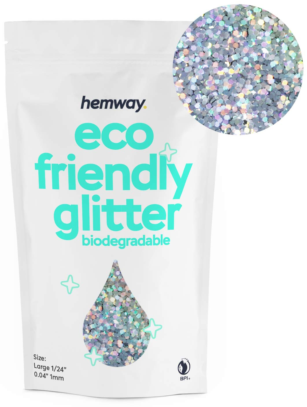 """Hemway Eco Friendly Biodegradable Glitter 100g / 3.5oz Bio Cosmetic Safe Sparkle Vegan for Face, Eyeshadow, Body, Hair, Nail and Festival Makeup, Craft - 1/24"""" 0.04"""" 1mm - Silver Holographic"""