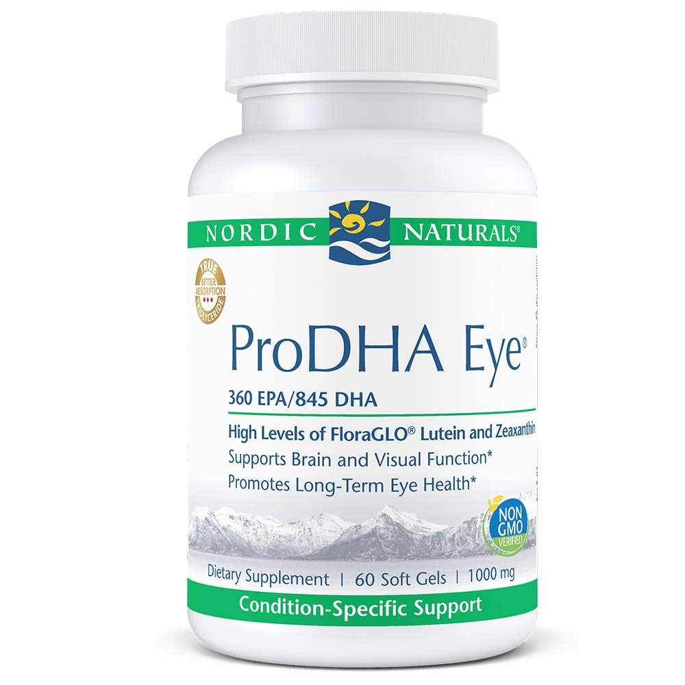 Nordic Naturals ProDHA Eye - Fish Oil, 360 mg EPA, 845 mg DHA, 20 mg FloraGLO Lutein, 4 mg Zeaxanthin, Support for Neurological Function and Long-Term Eye Health*, 60 Soft Gels