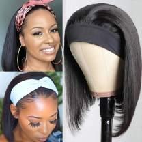 Klaiyi Short Bob Wig Straight Headband Scarf Human Hair Wigs 10A Brazilian Virgin Hair Non Lace Front Wig For Black Women 150% Density(10 inch, Bob Straight Headband Wig)