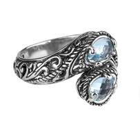 Carolyn Pollack Sterling Silver Gemstone Bypass Ring Choice of Gemstones
