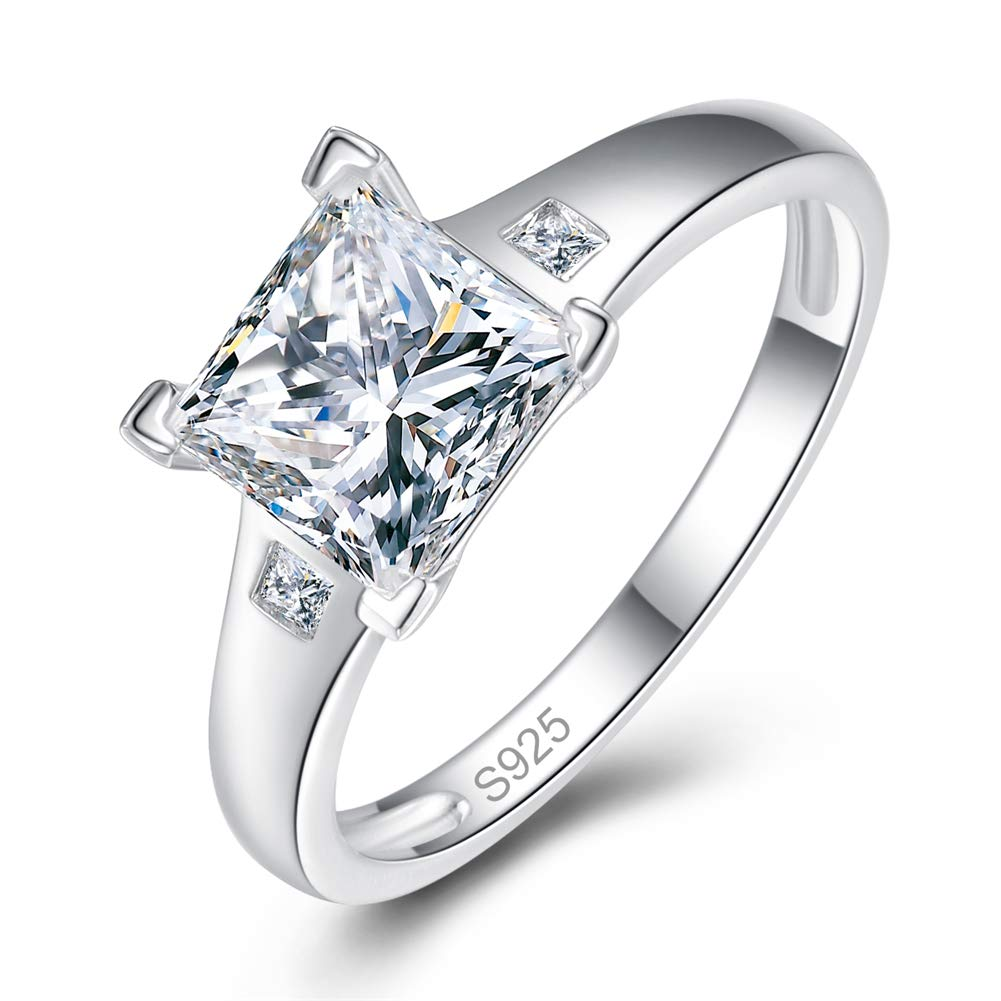 AVECON 925 Sterling Silver Princess Cut Engagement CZ Rings 1.5 Carat Brilliant Cubic Zirconia Wedding Ring for Women Size 6-9