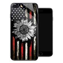 iPhone 8 Plus Case, Retro Sunflower Flag iPhone 7 Plus Cases for Girls,Tempered Glass Pattern Design Back Cover[Shock Absorption]Soft TPU Bumper Frame Support Case for iPhone 7/8 Plus Black White Red