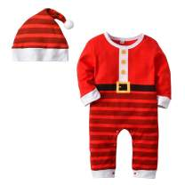 Happy Cherry Baby Girl Boy Cotton Jumpsuit Rompers Bodysuit Christmas Outfits with Hat