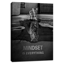 "Mindset is Everything Motivational Quotes Wall Art Cat Canvas Poster Print Positive Tiger Wall Decor Inspirational Entrepreneur Office Decor Painting Picture Artwork for Bedroom Framed - 12""Wx18""H"